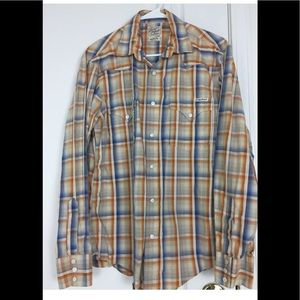 Lucky Brand Men's Shirt M Plaid Western Pearl Snap